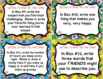 Awe Inspiring Back To School Task Cards Getting To Know You Task Cards Tpt Funny Birthday Cards Online Fluifree Goldxyz