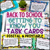Back To School Task Cards Getting to Know You Task Cards | Distance Learning