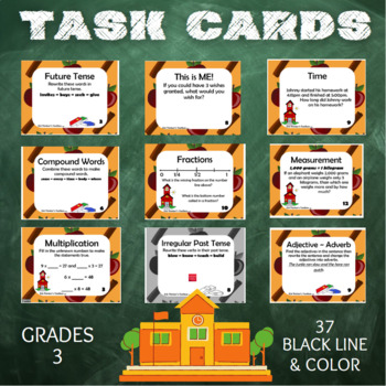 Back To School Task Cards - Grade 3 Review
