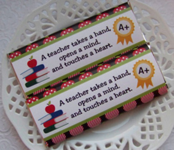 Back To School Teacher Large Candy Bar Wrappers