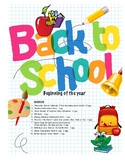 Back To School Teacher's Binder/Student Information Basic Package