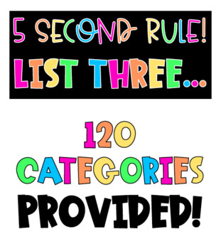 Back To School Team Building Game: 5 Second Rule/List Three Game