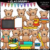 Back To School Teddy Bears - Clip Art & B&W Set
