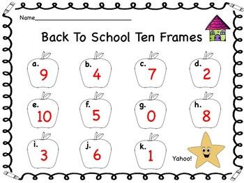 Back To School Ten Frames Digital Math Station