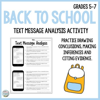 Back To School Text Message Analysis Inferencing & Citing Evidence