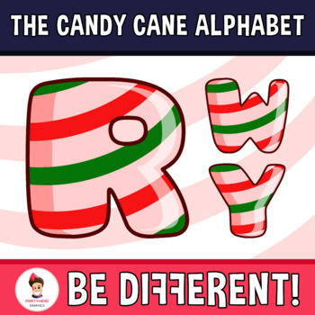 Candy Cane Alphabet Clipart Letters (ENG.-SPAN.)