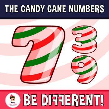 Candy Cane Numbers Clipart