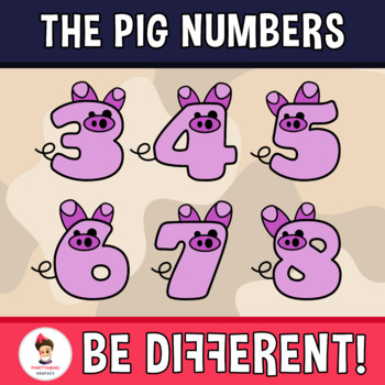 Back To School - The Pig Numbers Clipart