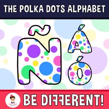 Back To School - The Polka Dots Alphabet Clipart Letters (ENG.-SPAN.)