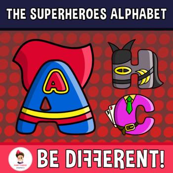Superheroes Alphabet Clipart Letters (ENG.-SPAN.)