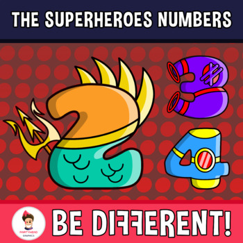 Back To School - The Superheroes Numbers Clipart
