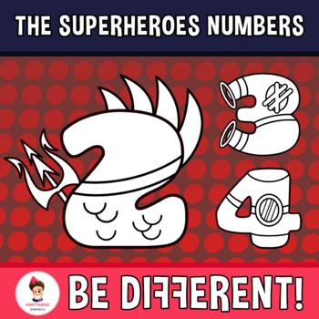 Superheroes Numbers Clipart