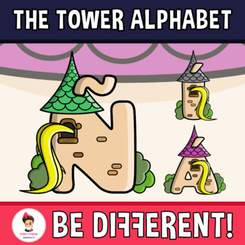 Back To School - The Tower Alphabet Clipart Letters (ENG.-SPAN.)