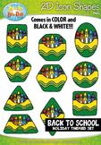 Back To School 2D Icon Shapes Clipart {Zip-A-Dee-Doo-Dah Designs}