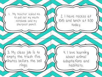 Back To School Themed Cursive/Fluency Task Cards