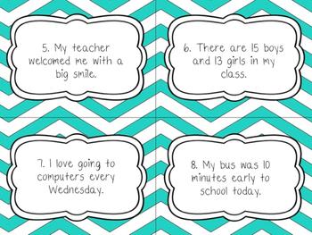 Back To School Themed Cursive/Fluency Task Cards