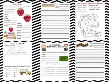 Back To School Themed Homework Packet
