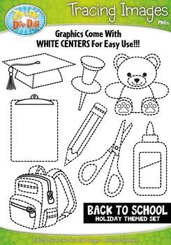 Back To School Tracing Image Clipart {Zip-A-Dee-Doo-Dah Designs}