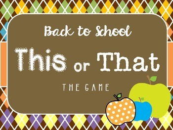 Back To School This or That: A Getting to Know You Game