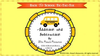 Addition and Subtraction Back To School Tic Tac Toe