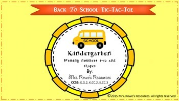 Kindergarten Math Back To School Tic Tac Toe