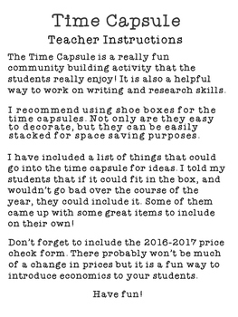 Back To School Time Capsule Updated (2017 2018) by Samantha Brady