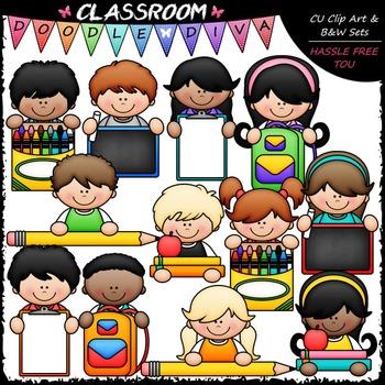 Back To School Topper Kids Clip Art - School Supplies Toppers Clip Art & B&W Set