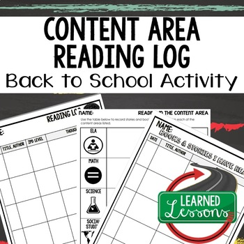 Back To School Content Areas and General Reading Log