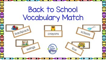 Back To School Vocabulary Match