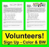 Back to School Volunteer Letter For Parents