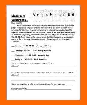 Back to School Volunteer Letter For Parents