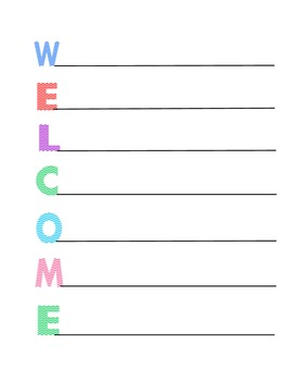 Back To School WELCOME Activity