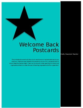 Back To School - Welcome Back Postcards