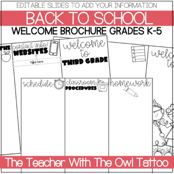 Editable Welcome Brochure (grades k-5) Back to school