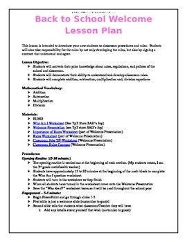 Back To School Welcome Lesson Plan