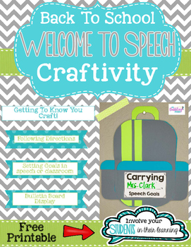 Back To School Welcome To Speech Craftivity