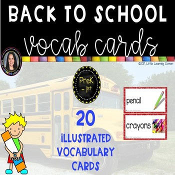 Back To School Picture and vocabulary Word Cards ~  Chevron