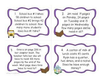 Back To School Word Problems Sample Freebie
