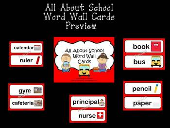 Back To School - Illustrated Word Wall Cards