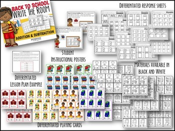 Back To School Write The Room Big Bundle of Math Fun-Differentiated