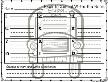 Back To School Write The Room Vocabulary