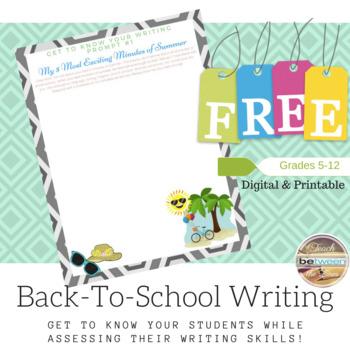 Back-To-School Writing Prompt Freebie! Grades 5-12