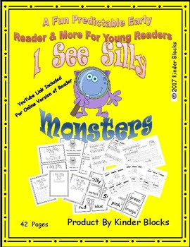 "Emergent Reader ""I See Silly Monsters"" with Video And Skills!! - Pre.K., K., 1st"
