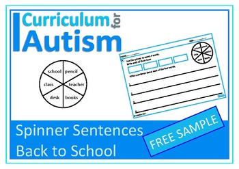 Back To School Writing Sentences Autism Special Education