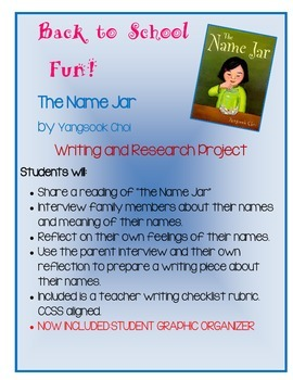 Back to School - Our Names Research and Interview Writing Project - The Name Jar
