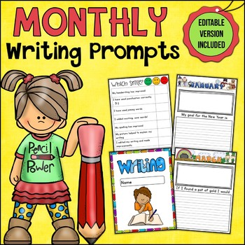 Monthly Writing Prompts Progression/Assessment Editable