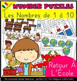 Back To School (en Français) Number Puzzles