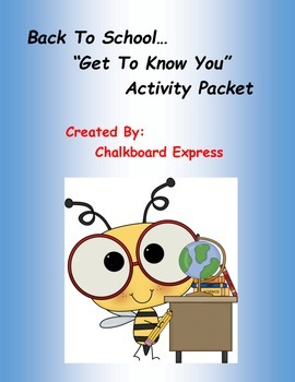 Back To School...Getting To Know You Activity Packet