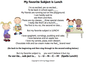 Back To School/My Favorite Subject Is Lunch/Novelty