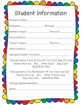 Back To School/Meet The Teacher Night Forms, Treat Tags & Station Signs